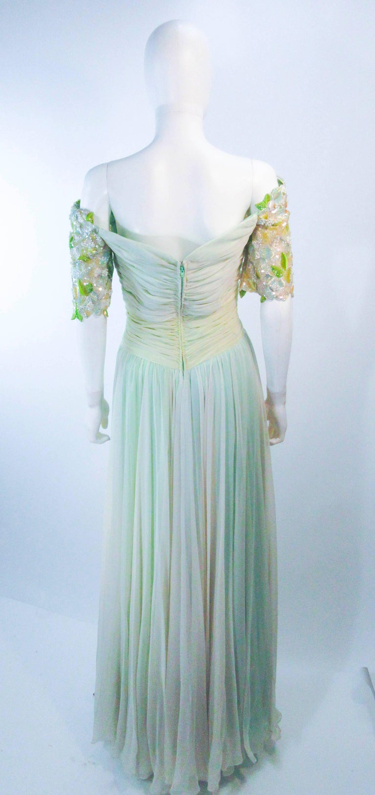 BOB MACKIE Green Chiffon Flower Embellished Gown Size 2 4 For Sale 5