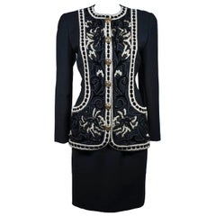 Oscar De La Renta Couture Embellished Black Wool Skirt Suit