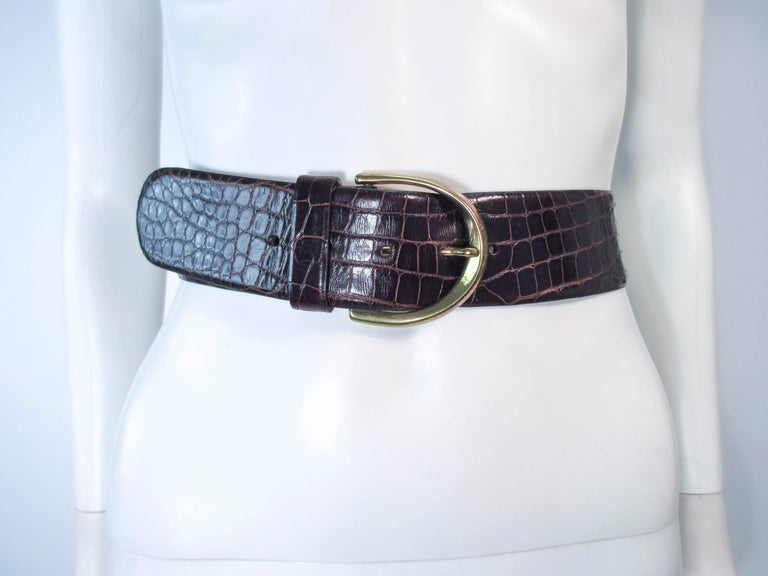 DONNA KARAN Brown Alligator Belt with Gold Tone Hardware Size Petite  For Sale 5