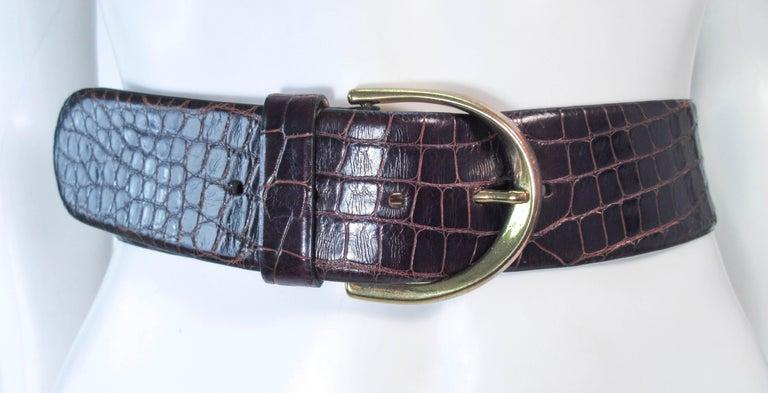 DONNA KARAN Brown Alligator Belt with Gold Tone Hardware Size Petite  For Sale 6