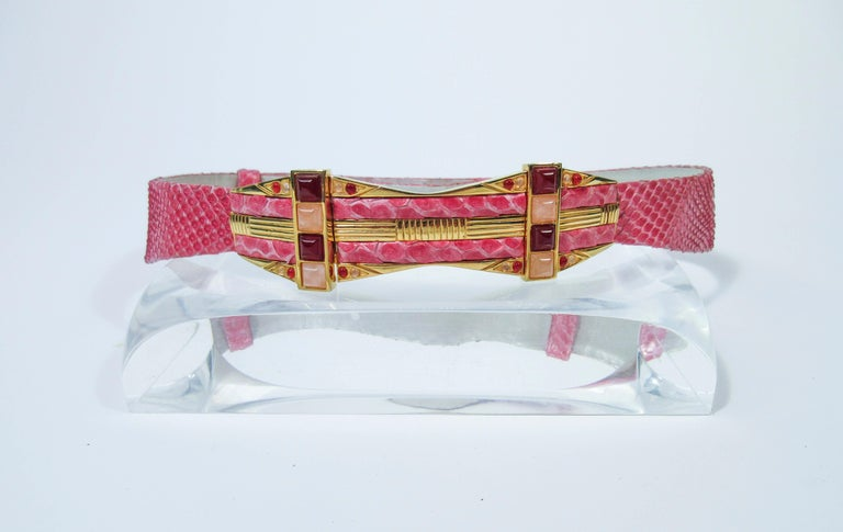 JUDITH LEIBER Pink Snakeskin Clutch w/ Optional Strap Mirror Coin Purse  For Sale 11