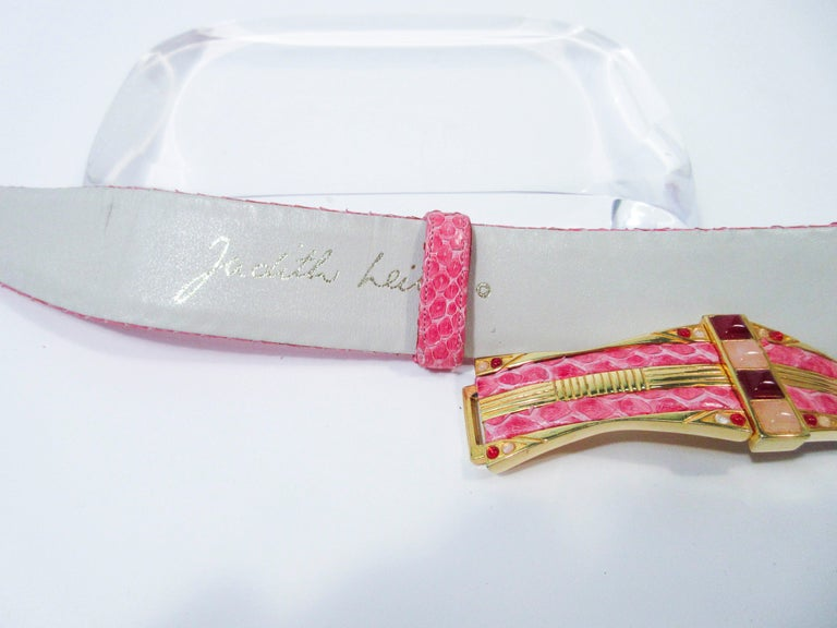 JUDITH LEIBER Pink Snakeskin Clutch w/ Optional Strap Mirror Coin Purse  For Sale 12