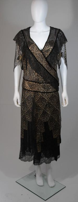 1920 S Custom Black And Gold Lace Velvet Trimmed Draped