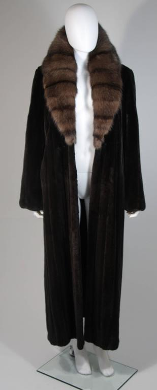 Valentino Female Black Forest Mink Coat with Sable Collar For Sale 5