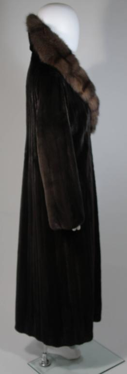 Valentino Female Black Forest Mink Coat with Sable Collar For Sale 1