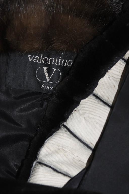 Valentino Female Black Forest Mink Coat with Sable Collar For Sale 6