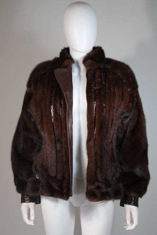 Giorgio Sant'Angelo Mink and Alligator Sports Coat with Leather For Sale 3