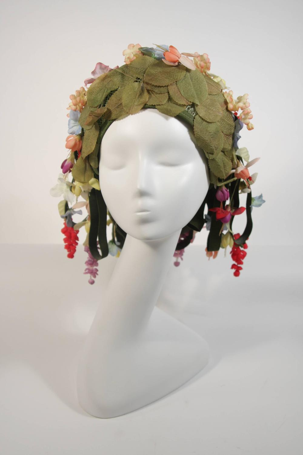 Jack Mcconnell Cascading Floral Hat With Green Ribbons For