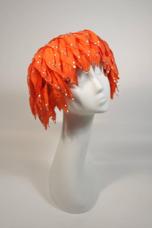 Red Jack McConnell Orange Petal Hat with Rhinestones For Sale
