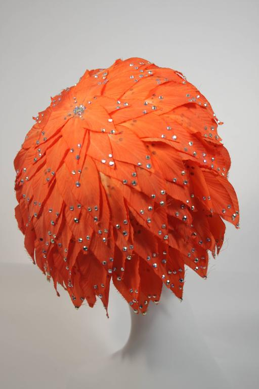 Women's Jack McConnell Orange Petal Hat with Rhinestones For Sale