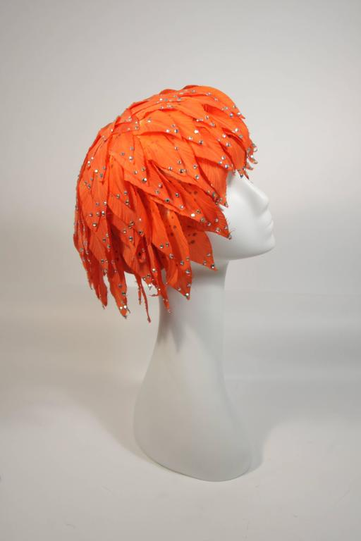 Jack McConnell Orange Petal Hat with Rhinestones For Sale 2