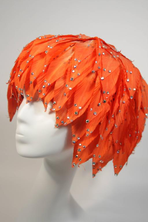 Jack McConnell Orange Petal Hat with Rhinestones In Good Condition For Sale In Los Angeles, CA