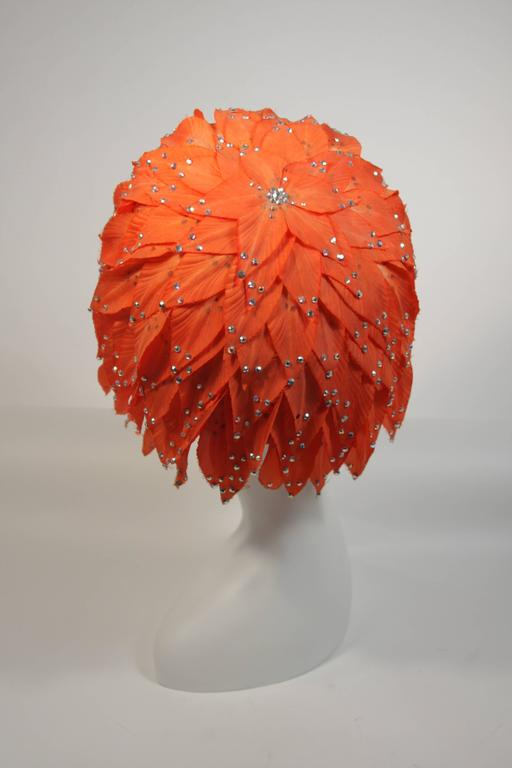 Jack McConnell Orange Petal Hat with Rhinestones For Sale 4
