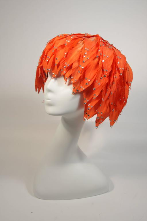 Jack McConnell Orange Petal Hat with Rhinestones For Sale 1