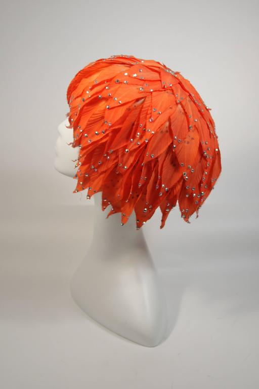 Jack McConnell Orange Petal Hat with Rhinestones For Sale 3