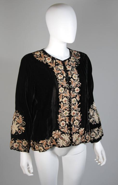 Velvet Jacket with Metallic Embroidery and Embellishment Size Small Medium Large 3