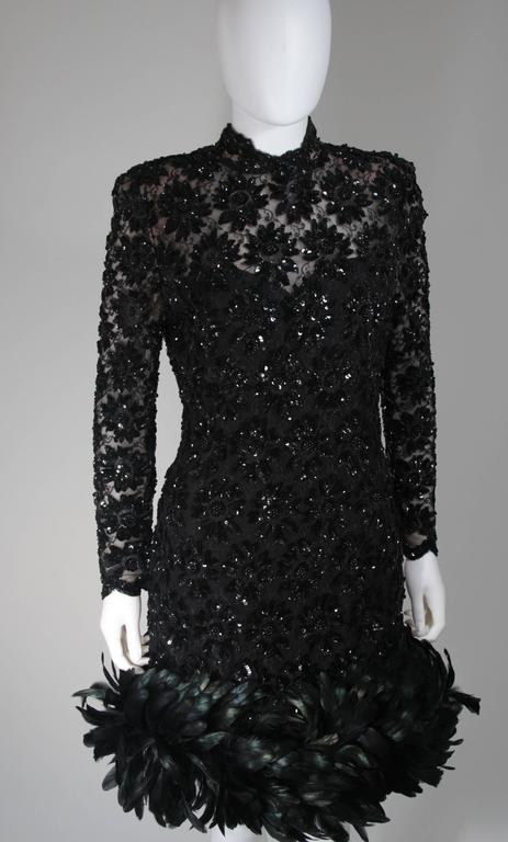 Travilla Black Sequin Beaded Cocktail Dress with Feather Hem Size Small Medium In Excellent Condition For Sale In Los Angeles, CA