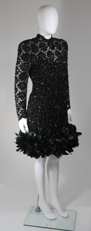 Women's Travilla Black Sequin Beaded Cocktail Dress with Feather Hem Size Small Medium For Sale