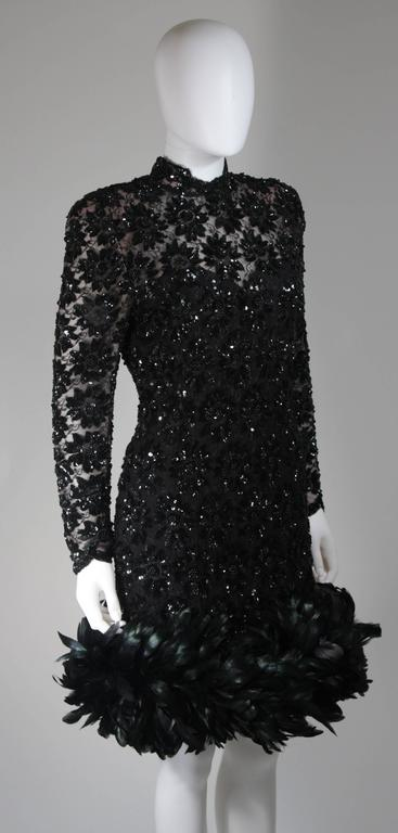 Travilla Black Sequin Beaded Cocktail Dress with Feather Hem Size Small Medium For Sale 1