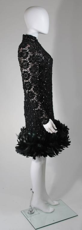 Travilla Black Sequin Beaded Cocktail Dress with Feather Hem Size Small Medium For Sale 2