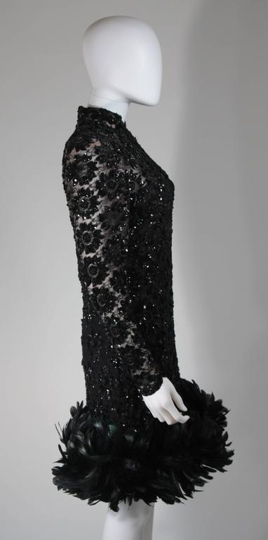 Travilla Black Sequin Beaded Cocktail Dress with Feather Hem Size Small Medium For Sale 3