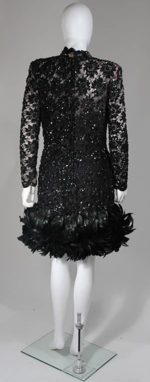 Travilla Black Sequin Beaded Cocktail Dress with Feather Hem Size Small Medium For Sale 4