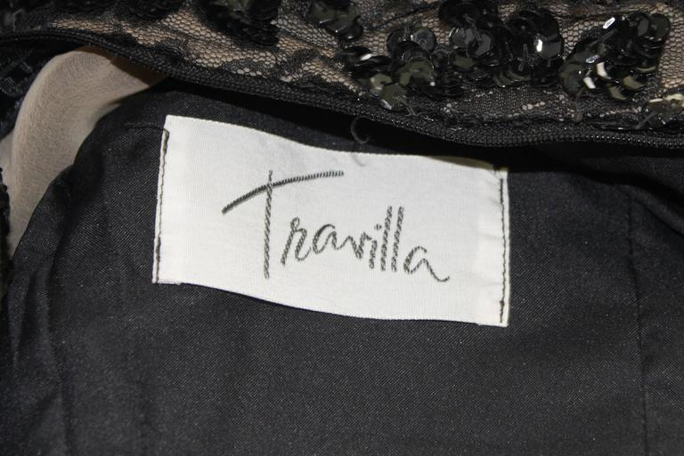 Travilla Black Sequin Beaded Cocktail Dress with Feather Hem Size Small Medium For Sale 6