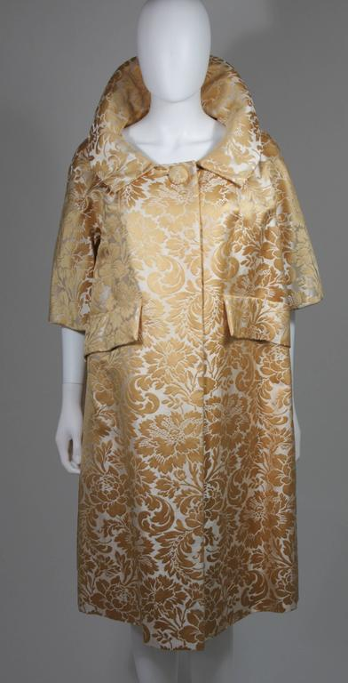 Samuel Winston Gold and Cream Brocade Evening Ensemble Size Small  For Sale 3
