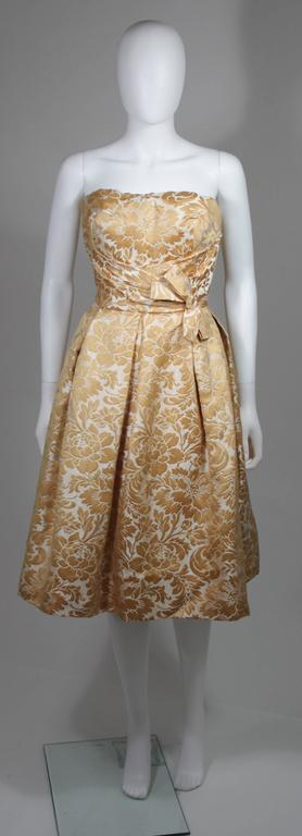 Brown Samuel Winston Gold and Cream Brocade Evening Ensemble Size Small  For Sale
