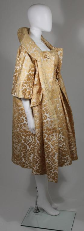Women's Samuel Winston Gold and Cream Brocade Evening Ensemble Size Small  For Sale