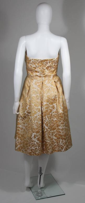 Samuel Winston Gold and Cream Brocade Evening Ensemble Size Small  In Excellent Condition For Sale In Los Angeles, CA