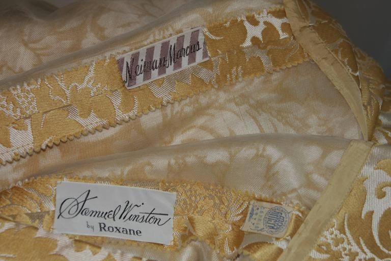 Samuel Winston Gold and Cream Brocade Evening Ensemble Size Small  For Sale 5