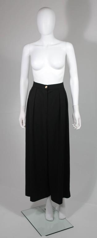 Chanel Black Wide Leg Pleated Slacks with Gold hardware Size Small 26 2