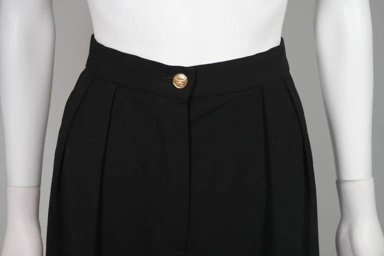 Chanel Black Wide Leg Pleated Slacks with Gold hardware Size Small 26 3