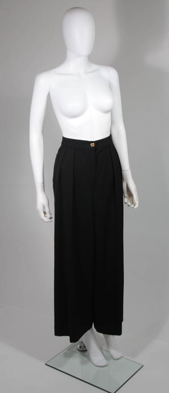 Women's Chanel Black Wide Leg Pleated Slacks with Gold hardware Size Small 26 For Sale