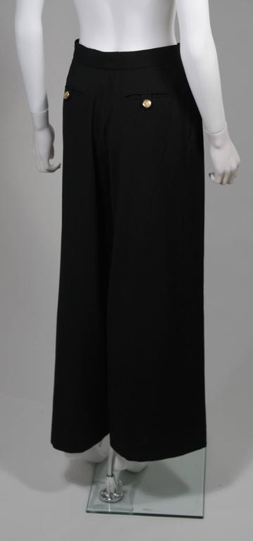 Chanel Black Wide Leg Pleated Slacks with Gold hardware Size Small 26 For Sale 3