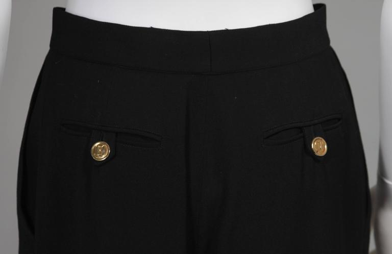 Chanel Black Wide Leg Pleated Slacks with Gold hardware Size Small 26 9