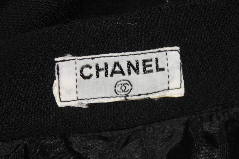 Chanel Black Wide Leg Pleated Slacks with Gold hardware Size Small 26 For Sale 6