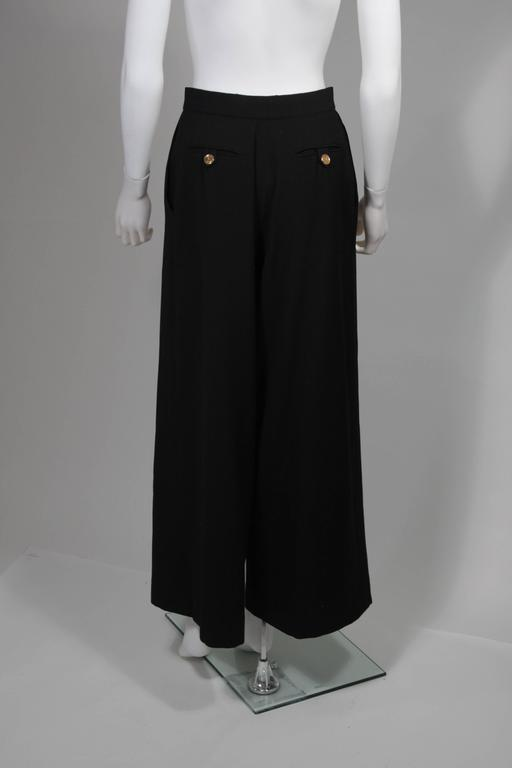 Chanel Black Wide Leg Pleated Slacks with Gold hardware Size Small 26 For Sale 4