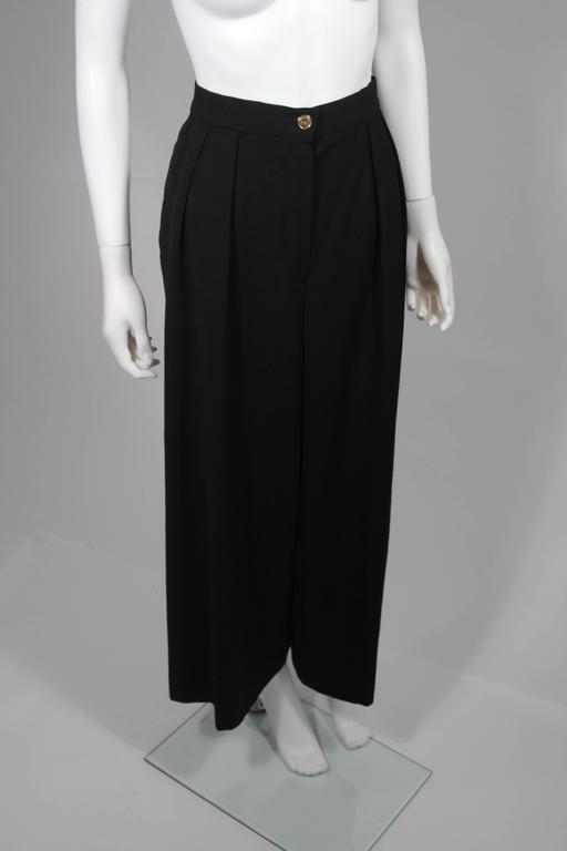 Chanel Black Wide Leg Pleated Slacks with Gold hardware Size Small 26 5