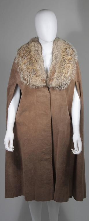 Nolan Miller Brown Suede Cloak with Fox Fur Collar  In Excellent Condition For Sale In Los Angeles, CA
