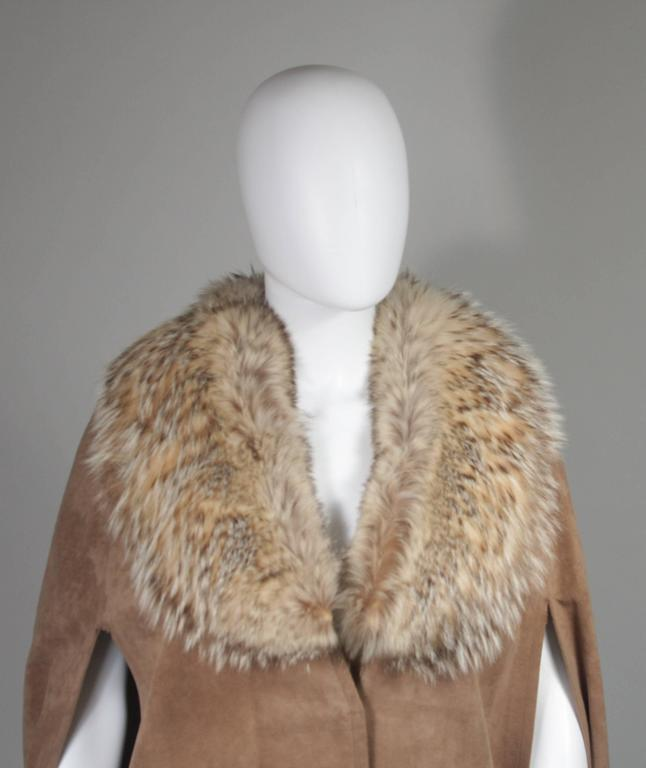 Women's Nolan Miller Brown Suede Cloak with Fox Fur Collar  For Sale
