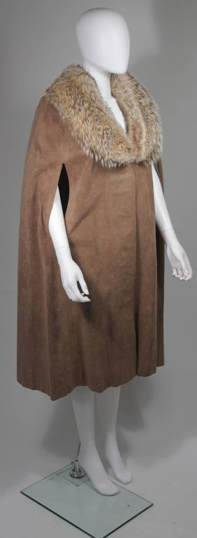 Nolan Miller Brown Suede Cloak with Fox Fur Collar  For Sale 1