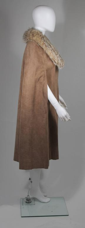 Nolan Miller Brown Suede Cloak with Fox Fur Collar  For Sale 2