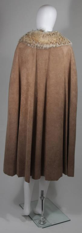 Nolan Miller Brown Suede Cloak with Fox Fur Collar  For Sale 3