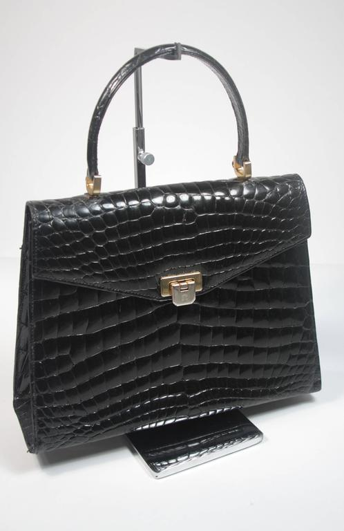 Amir Italy Black Crocodile Top Handle Purse In Excellent Condition For Sale In Los Angeles, CA