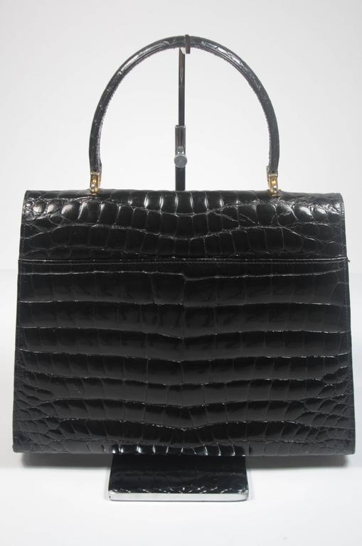 Amir Italy Black Crocodile Top Handle Purse For Sale 1