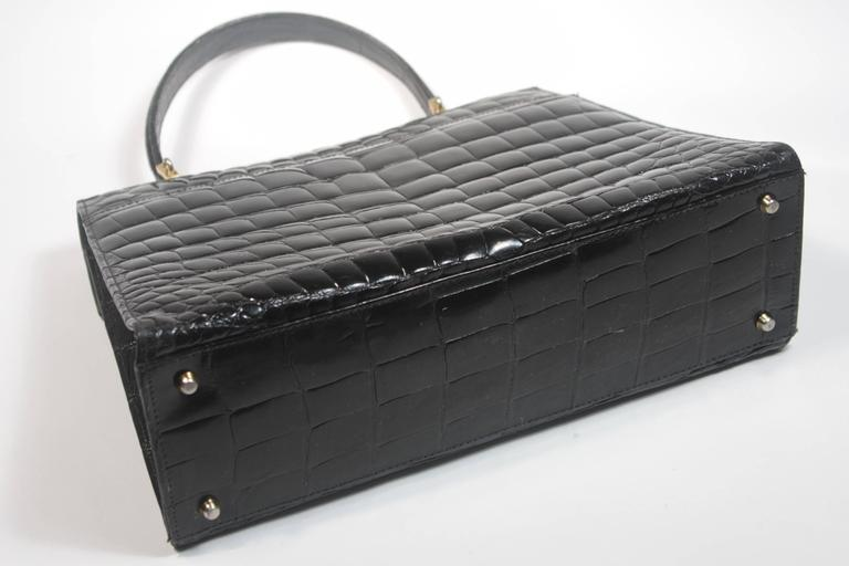 Amir Italy Black Crocodile Top Handle Purse For Sale 2