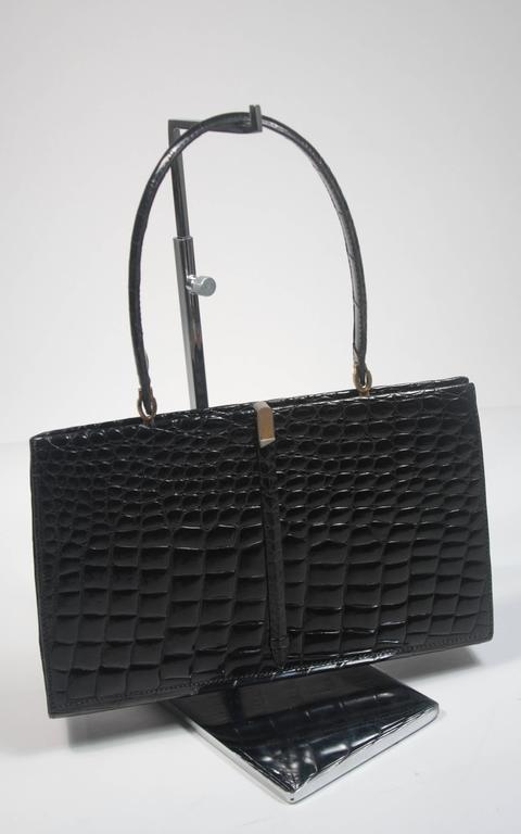 Barnes Shoe Salon Black Crocodile Top Handle French Purse With Gold Hardware In Excellent Condition For