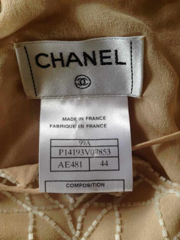 Chanel 99A Lesage White Beaded Beige Silk Blouse with Triangular Cut-outs FR44 10